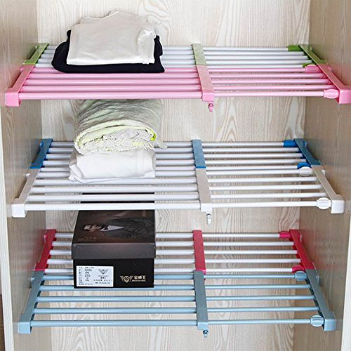 Adjustable Storage Rack Shelf for Kithchen Cupboard Refrigerator Wardrobe Bookcase Compartment Collecting (Adjustable Fridge Shelf compare prices)