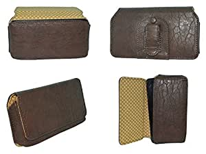 TOTTA Universal PU Leather Belt Pouch For Alcatel Pop 2 (5) Premium- BROWN