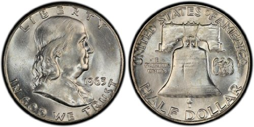 1963 No Mint Mark Franklin Half Half Dollar Seller AU