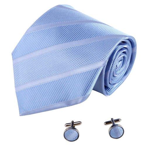 Blue Mens Ties Meeting Cornflower Blue Stripes Woven Silk Neckie Cufflinks Present Box Set Y&G Excellent Tie Set A7020 One Size Cornflower Blue