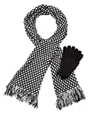 M&S Collection Chenille Spotted Scarf & Gloves Set [T01-5965-S]
