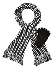 M&S Collection Chenille Spotted Scarf & Gloves Set
