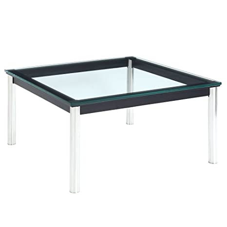 Charles Le Corbusier LC10 Square Glass Black Coffee Table FMP251684