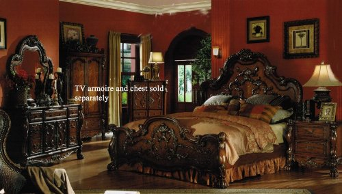 Pc king size bedroom set in brown cherry finish north shore ...