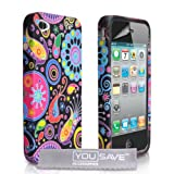 Yousave Accessories Jellyfish Pattern Silicone Gel Cover Case with Screen Protector Film for Apple iPhone 4/4S - Black/Red/Pink/Yellow/Purpleby Yousave Accessories