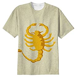Snoogg Scorpion Yellow 2785 Mens Casual All Over Printed T Shirts Tees