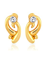 Mahi Gold Plated Curvy Delight Stud Earrings With Crystal For Women ER1109280G