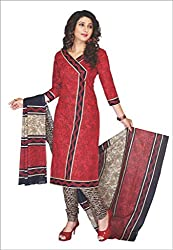 Komal arts Ethnicwear Women's Dress Material RED_Free Size