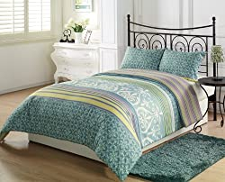 Chezmoi Collection Seafoam Green White Paisley Lime Purple Pink Stripe 2-Piece Reversible Comforter Set, Twin/X-Large Twin