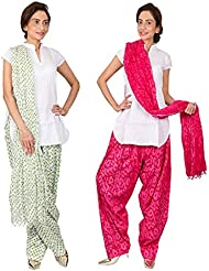 Womens Cottage Combo Pack Of 2 Printed Cotton Semi Patiala & Cotton Dupatta With Lace Set - B01G1GIUO4
