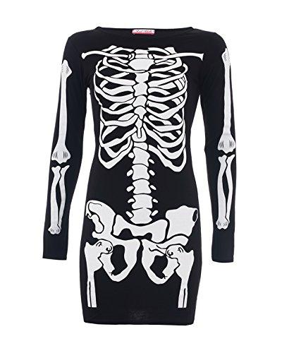 Style divaa® Bodycon-Costume da scheletro, donna nero XL