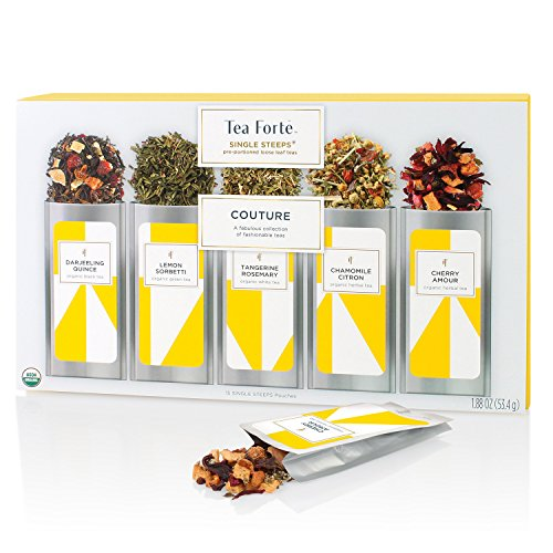 Tea Forté Couture SINGLE STEEPS Loose Leaf Tea Sampler, 15 Designer Teas in Single Serve Pouches - Black Tea, Green Tea, White Tea, Herbal Tea (Single Serve Green Tea compare prices)