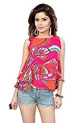 Trendif Pink Poly Georgette Floral Print Party Wear Desinger Crop Top