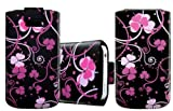 Wayzon Organic PU Leather Pacific Floral Slide iN Pull Tab Protection Case Pouch Cover Skin Wallet Holster Armour Pocket For Alcatel One Touch Idol