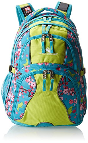 High Sierra Swerve Backpack, Birds And Blossom/Tropic Teal/Chartreuse, 19 X 13 X 7.75-Inch