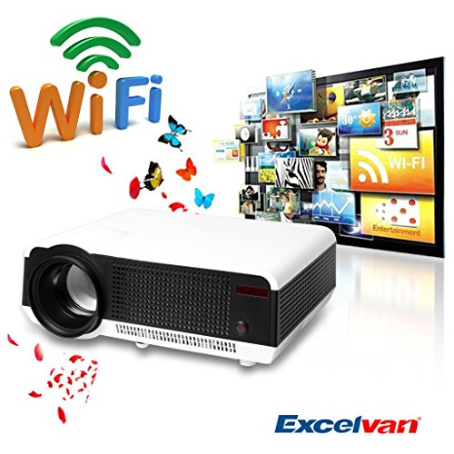 Excelvan® 2800 Lumens Wireless Wifi Internet Projector, Built In Dual Core Android 4.2 Os, Wireless Internet Access, Online Cinema, Online Game, Ideal Partner For Your Blue-Ray Player, Xbox, Playstation3 Or Other Gaming Console(White)