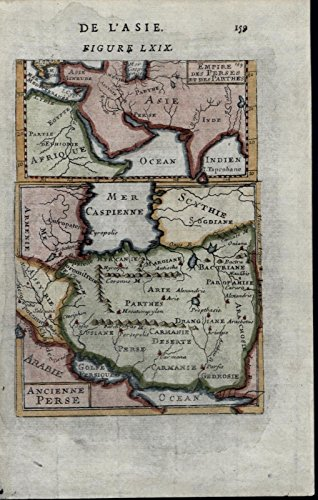 Ancient Persia Caspian Sea India Africa 1683 charming miniature antique map view