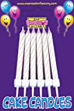 Packet of 12 Birthday Cake Candles with holders - White Glittery Stripey Candles - 12 Pack
