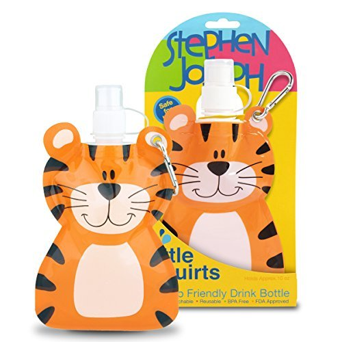 Stephen Joseph Little Squirts Tiger Water Bottle, Multicolor, 2-Pack