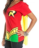 Bioworld DC Comics Robin Juniors Red V-Neck Cape T-Shirt