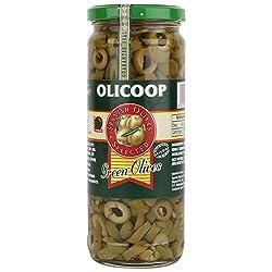 Olicoop Green Sliced Olives, 450g