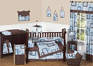 Blue And Brown Geo Modern Baby Bedding 9pc Crib Cot Set Baby