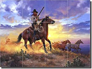 Western Cowboy Ceramic Tile Mural Backsplash 24 X 18 The Horse