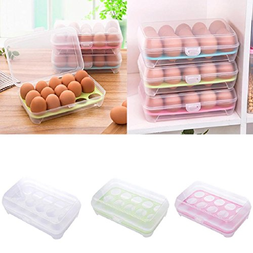 Lookatool Single Layer Refrigerator Food 15 Eggs Airtight Storage container plastic Box (Random color) (Egg Containers For Refrigerator compare prices)