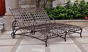 Santa fe double patio chaise lounge l peg for Chaise yamaha