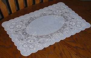 Vinyl Placemats, White, Set of 8, 12 X 18 Inches