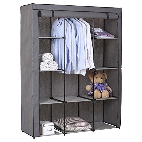 Stoffkleiderschrank Kellerregal Faltkleiderschrank STEVEN, mit 1 Kleiderstange und 9 Regalfächern, inkl. Schutzhülle in grau – 7 verschiedene Aufbauvarianten bestellen