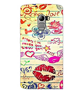 PrintDhaba Love D-6097 Back Case Cover for LENOVO K4 NOTE A7010a48 (Multi-Coloured)