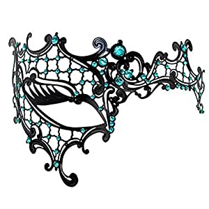 Coxeer® Filigree Phantom of the Opera Venetian Laser Cut Masquerade Mask Metal Half Face Mask for Woman