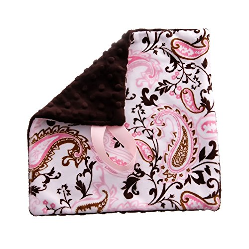 BBEmerald Paisley Baby Pacifier Blanket, Pink - 1