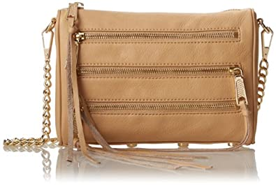 Rebecca Minkoff Mini 5-Zip Convertible Cross Body Bag,Biscuit,One Size