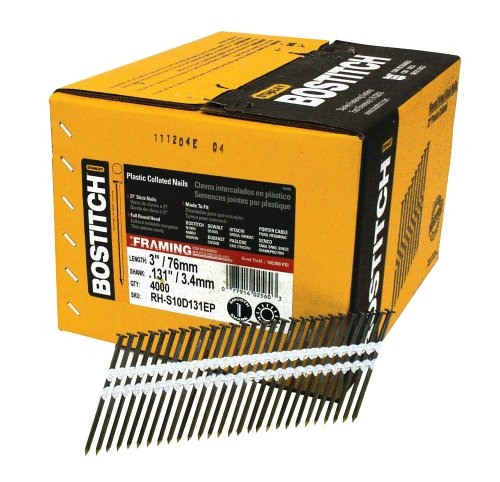 BOSTITCH RH-S10D131EP Round Head 3-Inch by .131-Inch by 21 Degree Plastic Collated Framing Nail (4,000 per Box)
