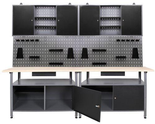 Werkstatt-Werkstatteinrichung-Werkbank-Werkzeugschrank-und-Lochwand-mit-Haken