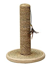 PETPALS GROUP Seagrass Post with Feather Teasing Toys, 18 x 13 x 5\