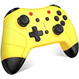BEBONCOOL Wireless Controller for Nintendo Switch Pro Controller Remote Motion Vibration Turbo Speed Function Dual Analog Sticks Controller with Bluetooth - Yellow (Color: Yellow, Tamaño: Pro Controller)