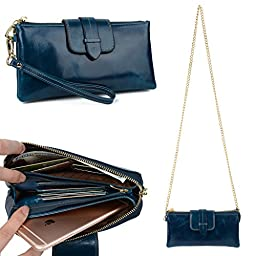 YALUXE Women\'s Large Capacity Genuine Leather Wristlet Wallet Smartphone Clutch with Metal Shoulder Chain Blue