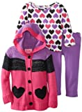 Young Hearts Baby-Girls Infant 3 Piece Large Stripe Sweater And Pant Set, Purple, 24 Months
