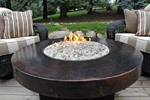"""Hammered Copper 42"""" Round Oriflamme Fire Table Gas Fire ..."""