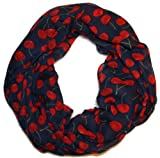 Cherry Print Scarf in Blue