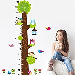 Height Measurement Growth Chart Tree Cute Monkey and Owls Wall Decal for Nursery Playroom Girls and Boys Children\'s Bedroom by Rainbow Fox