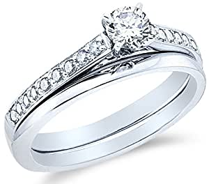 Traditional Bridal Engagement Ring With Matching Plain Solid Wedding