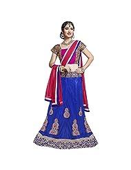 Blue And Pink Heavy Net And Velvet Designer Lehenga Choli Semi Stitched