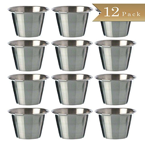(Set of 12) Stainless Steel, Individual Condiment Sauce Cup - 2 1/2 oz (Mini Sauce Dish compare prices)