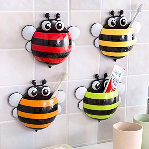 Creative Home Accessories Cartoon Bee Toiletries Toothpaste Holder Bathroom Sets Suction Hooks Tooth Brush Holder - ORANGE