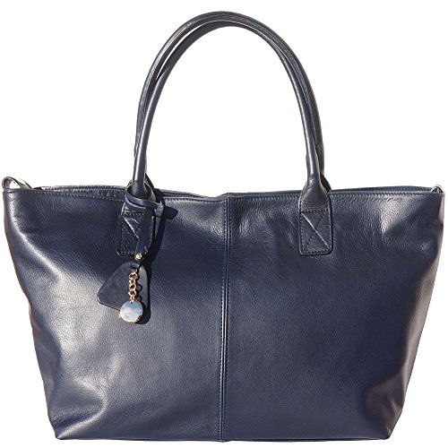 BORSA SHOPPING IN VERA PELLE DI VITELLO 3015 (BLU)