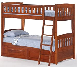 port Twin over Twin Bunk Bed plus Understorage Unit with Cherry Finish by Bunksnstuff